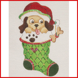 click here to view larger image of Mini Stocking Filled With Dog With Santa Hat and Paw Print On Cuff Ornament (hand painted canvases)
