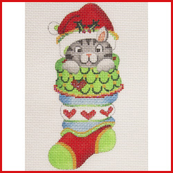 click here to view larger image of Mini Stocking Filled With Cat With Hearts On Stocking Ornament (hand painted canvases)