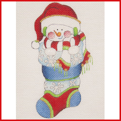 click here to view larger image of Mini Stocking Filled With Snowman With Santa Hat With Snowflakes On Stocking Ornament (hand painted canvases)