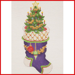 click here to view larger image of Mini Stocking Filled With Christmas Tree With Ornaments On Cuff Ornament (hand painted canvases)