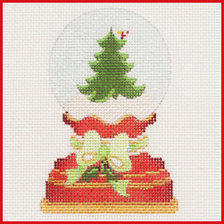 click here to view larger image of Christmas Tree Snowglobe Ornament (hand painted canvases)