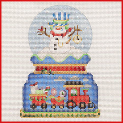 click here to view larger image of Snowman Train Engineer Snowglobe Ornament (hand painted canvases)