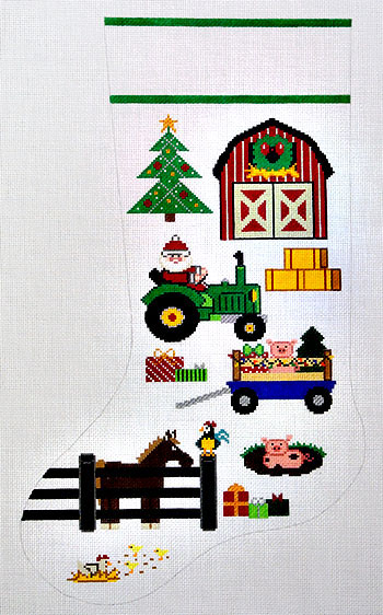 click here to view larger image of Old McSanta Farm Stocking (hand painted canvases)