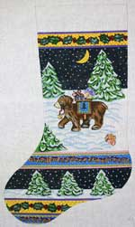 click here to view larger image of Bear With Blanket In Snow Stocking (hand painted canvases)