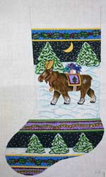 click here to view larger image of Moose With Blanket In Snow Stocking (hand painted canvases)