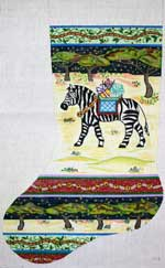 click here to view larger image of Zebra With Blanket In Desert Stocking (hand painted canvases)