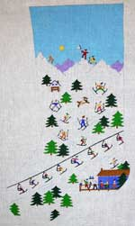 click here to view larger image of Ski Scene Stocking - 13ct (hand painted canvases)