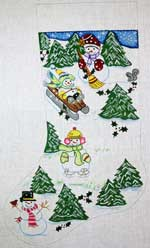 click here to view larger image of Hillside Snowmen Stocking (hand painted canvases)
