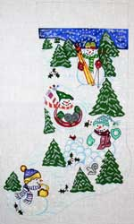 click here to view larger image of Sledding and Skiing Snowmen Stocking (hand painted canvases)