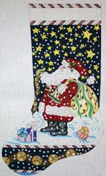 click here to view larger image of Santa With Jingle Bells Stocking (hand painted canvases)