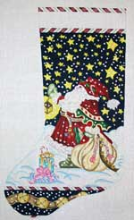 click here to view larger image of Santa With Lantern Stocking (hand painted canvases)