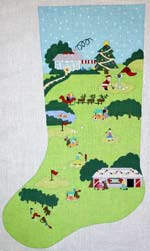 click here to view larger image of Golf Course Scene Stocking - 18ct (hand painted canvases)