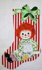 click here to view larger image of Raggedy Ann With Toys Stocking (hand painted canvases)