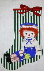 click here to view larger image of Raggedy Andy With Toys Stocking (hand painted canvases)