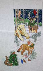 click here to view larger image of Winter Animals Stocking (Bear, Deer, Fox) (hand painted canvases)