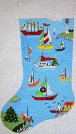 click here to view larger image of Sailboat Marina At Christmas Stocking (hand painted canvases)