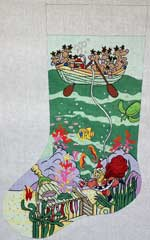 click here to view larger image of Underwater / Scuba Santa Stocking (hand painted canvases)