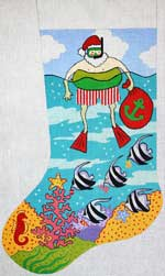 click here to view larger image of Santa Afloat Stocking (hand painted canvases)