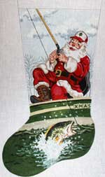 click here to view larger image of Bass Fishing Santa Stocking (hand painted canvases)