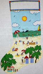 click here to view larger image of Beach Scene Stocking (hand painted canvases)