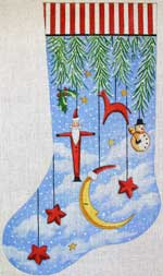 click here to view larger image of Primitive Ornaments With Moon Stocking (hand painted canvases)