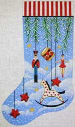 click here to view larger image of Primitive Ornaments With Rocking Horse Stocking (hand painted canvases)
