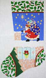 click here to view larger image of Santa On Roof Stocking (hand painted canvases)
