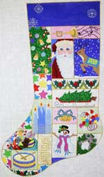 click here to view larger image of Christmas Patchwork With Santa Stocking (hand painted canvases)