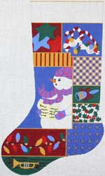 click here to view larger image of Christmas Collage Stocking - Girl (hand painted canvases)