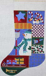 click here to view larger image of Christmas Collage Stocking - Boy (hand painted canvases)