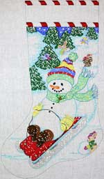 click here to view larger image of Sledding Snowman Stocking (hand painted canvases)
