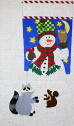click here to view larger image of Snowman With Forest Friends Stocking (hand painted canvases)