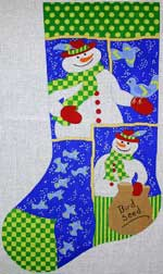 click here to view larger image of Frosty With Feathered Friends Stocking (hand painted canvases)