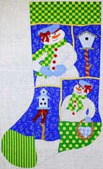 click here to view larger image of Mrs Frosty With Birdhouses Stocking (hand painted canvases)