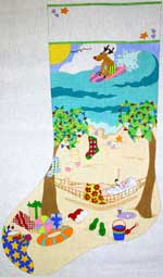 click here to view larger image of Santas Beach Vacation Stocking (hand painted canvases)