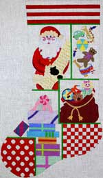click here to view larger image of Santas Collage Stocking (hand painted canvases)