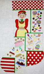 click here to view larger image of Mrs Claus Collage Stocking (hand painted canvases)