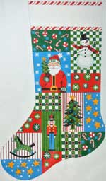 click here to view larger image of Christmas Blocks With Santa Stocking (hand painted canvases)