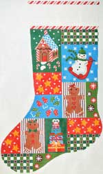 click here to view larger image of Christmas Blocks With Snowman Stocking (hand painted canvases)