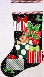 click here to view larger image of Presents On Black Stocking (hand painted canvases)