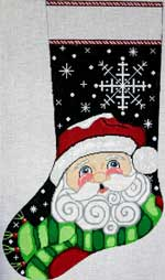 click here to view larger image of Snowflake Santa Stocking (hand painted canvases)