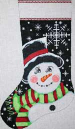 click here to view larger image of Snowflake Snowman Stocking (hand painted canvases)