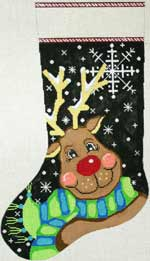click here to view larger image of Snowflake Reindeer Stocking (hand painted canvases)