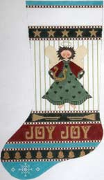 click here to view larger image of Country Angel Stocking (hand painted canvases)