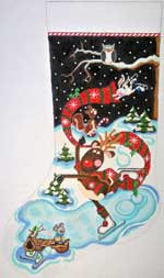 click here to view larger image of Rudolfe Lutz Stocking (hand painted canvases)