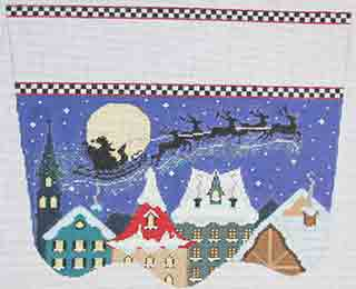 click here to view larger image of Santas Midnight Ride Stocking Cuff (hand painted canvases)