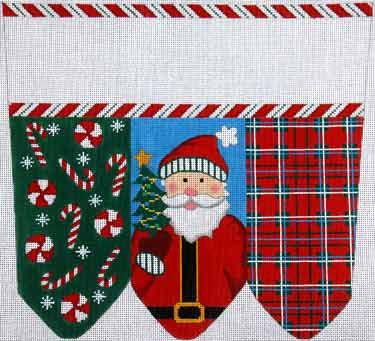 click here to view larger image of Santa Traditional Colors Stocking Cuff (hand painted canvases)