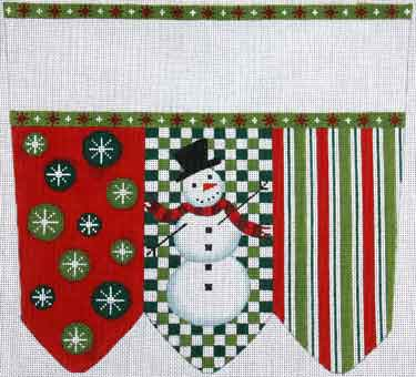 click here to view larger image of Snowman On Checks With Stripes and Circles Stocking Cuff (hand painted canvases)