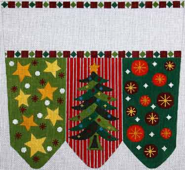 click here to view larger image of Christmas Tree With Stars and Circles Stocking Cuff (hand painted canvases)