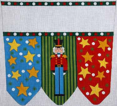 click here to view larger image of Nutcracker With Stripes and Stars Stocking Cuff (hand painted canvases)